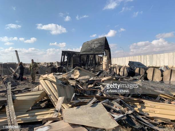 Picture taken on January 13, 2020 during a press tour organised by the US-led coalition fighting the remnants of the Islamic State group, shows a...
