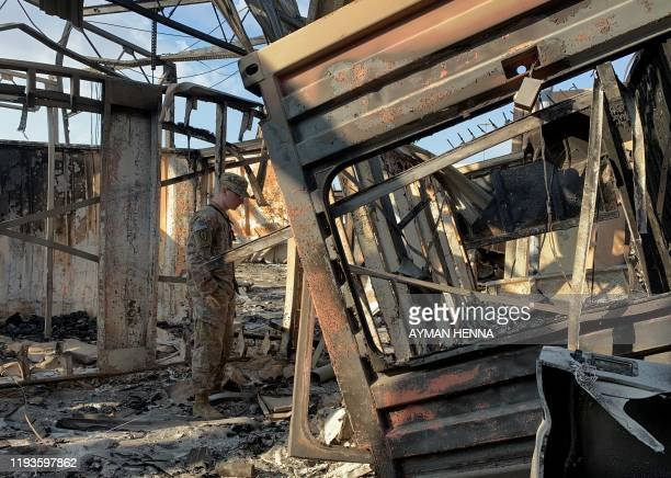A picture taken on January 13 2020 during a press tour organised by the USled coalition fighting the remnants of the Islamic State group shows a view...