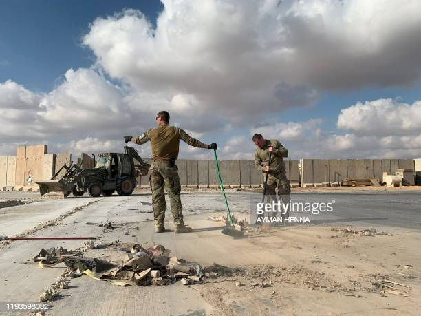 Picture taken on January 13, 2020 during a press tour organised by the US-led coalition fighting the remnants of the Islamic State group, shows US...