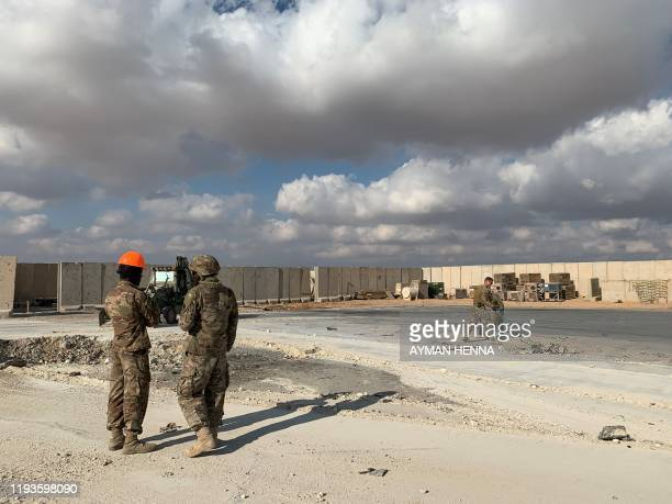A picture taken on January 13 2020 during a press tour organised by the USled coalition fighting the remnants of the Islamic State group shows US...