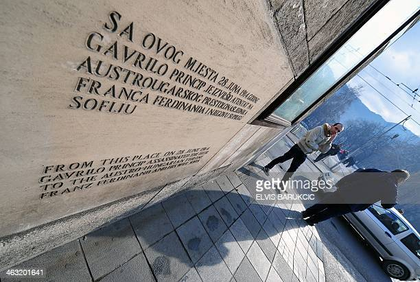 A picture taken on January 14 2014 shows a plaque on the street corner where Serbian nationalist Gavrilo Princip assassinated AustroHungarian heir to...