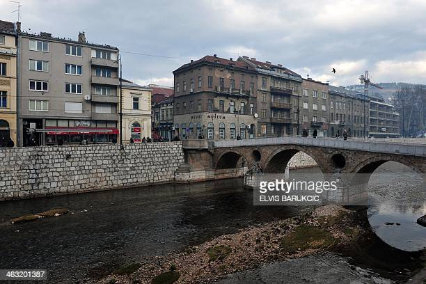 A picture taken on January 14 2014 shows the Latin Bridge and the street corner where Serbian nationalist Gavrilo Princip assassinated...