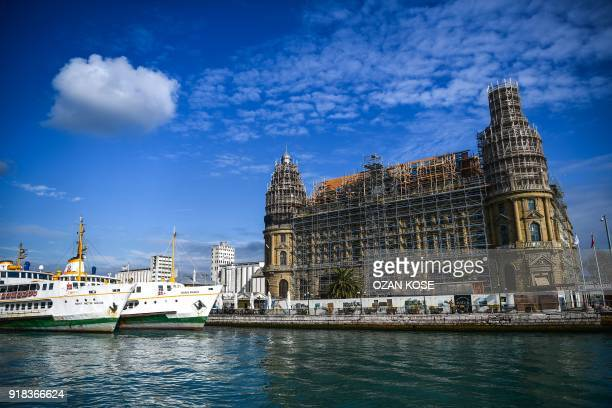 Picture taken on January 15 2018 shows a general view of historical Haydarpasa train station in Istanbul Built in the first decade of the 20th...