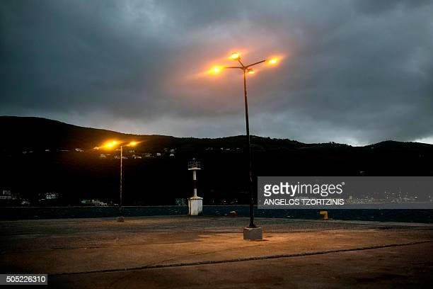 A picture taken on January 16 2016 shows a general view of the port of the Greek island of Samos on January 16 2016 Maltesebased NGO MOAS rescued 48...