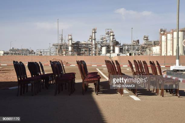 A picture taken on January 16 2018 at In Amenas gas plant300 kilometres southeast of Algiers shows chairs lined up ahead of a ceremony to mark five...
