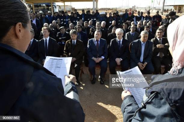A picture taken on January 16 2018 at In Amenas gas plant300 kilometres southeast of Algiers shows Abdelmoumen Ould Kaddour CEO of Sonatrach Ingbjorn...