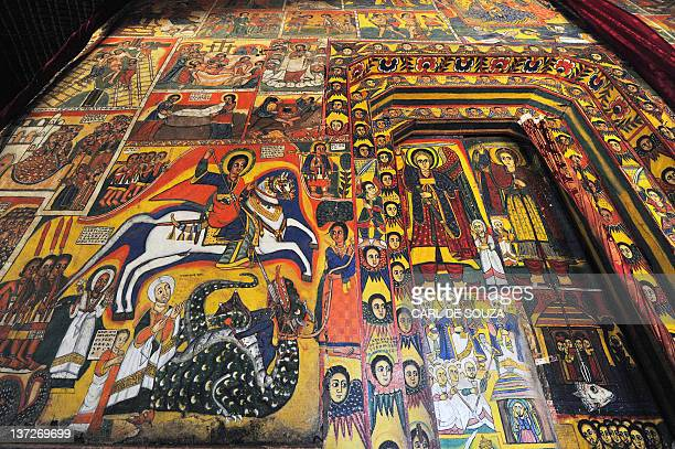 A picture taken on January 17 2012 shows detailed paintings depicting religious events like St George slaying the dragon and Archangels Gabriel and...