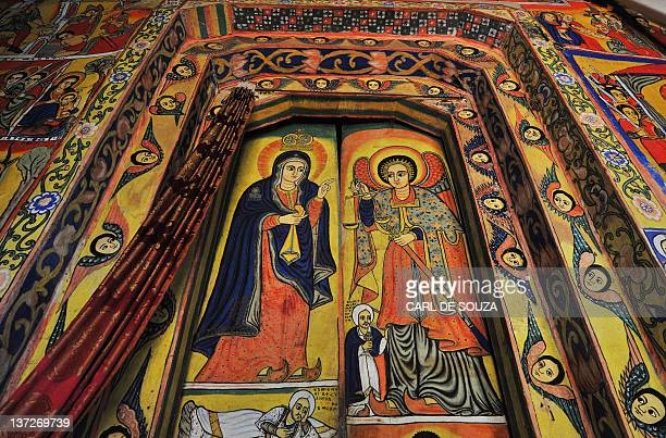 A picture taken on January 17 2012 shows detailed paintings depicting Archangel Gabriel and the virgin Mary at Ure Kidane Mihret Orthodox Christian...