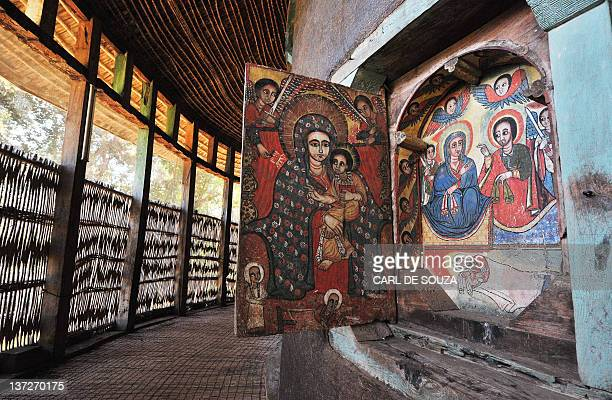 A picture taken on January 17 2012 shows religious paintings at Ure Kidane Mihret Orthodox Christian monastery at Lake Tana in Bahar Dar Ethiopian...