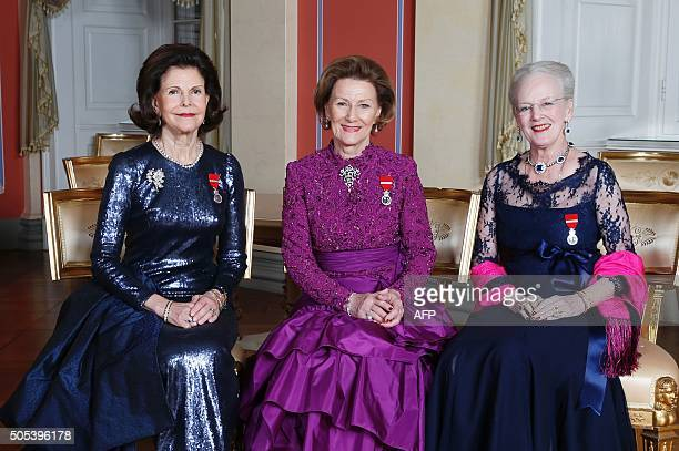 Picture taken on January 17 2016 at the Royal Castle in Oslo shows Queen Silvia of Sweden Queen Sonja of Norway and Queen Margrethe of Denmark on the...