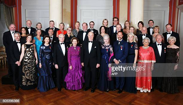 Picture taken on January 17 2016 at the Royal Castle in Oslo shows Carl Christian Dahl Ian Swanstroem Dag Swanstroem Anne Karine Swanstroem Marianne...