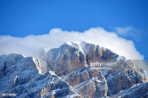A picture taken on January 18 2015 in Cortina D'Ampezzo shows the Dolomites mountains in Italy AFP PHOTO / ALBERTO PIZZOLI