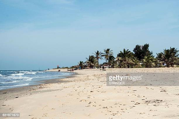 Picture taken on January 18 2017 in Banjul shows a deserted Palma Beach after tourists left due to the British Government changing their travel...