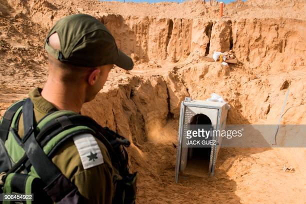 TOPSHOT A picture taken on January 18 2018 from the Israeli side of the border with the Gaza Strip shows a Israeli army officer walking near the...