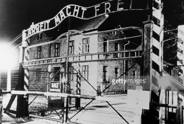Picture taken on January 1945 at Auschwitz after the liberation of the extermination camp by te Soviet troops showing the entrance of the camp