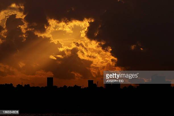 A picture taken on January 2 2012 shows Beirut's skyline at sunset Lebanese Prime Minister Najib Mikati said last week there was 'no conclusive...