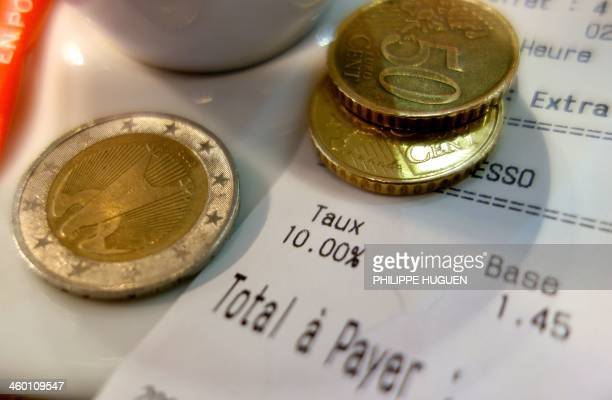A picture taken on January 2 in a bar in Dunkerque northern France shows a receipt for a cup of coffee with the VAT new rate since January 1 2014 The...