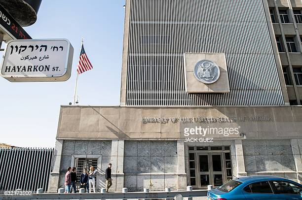 A picture taken on January 20 2017 shows the exterior of the US Embassy building in the Israeli coastal city of Tel Aviv coinciding with the...