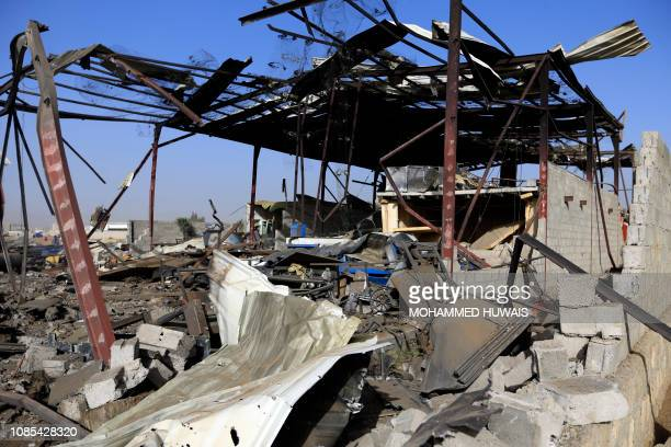 A picture taken on January 20 shows a destroyed factory after a reported airstrike by Saudiled coalition in the Yemeni capital Sanaa Coalition...