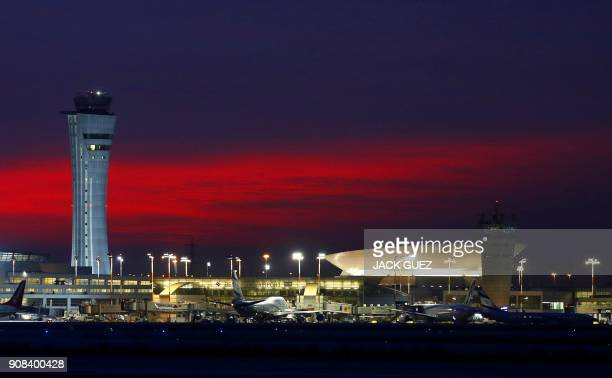 Picture taken on January 21, 2018 shows a view of Israel's Ben Gurion Airport near Tel Aviv. / AFP PHOTO / JACK GUEZ