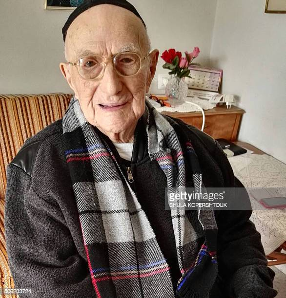 A picture taken on January 21 shows Yisrael Kristal sitting in his home in the Israeli city of Haifa Yisrael an Israeli Holocaust survivor may be the...