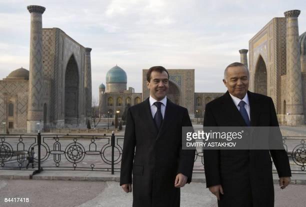 Picture taken on January 22 2009 shows Russian President Dmitry Medvedev and Uzbek President Islam Karimov visiting a mosque in Samarkand Medvedev in...