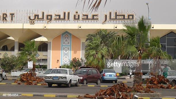 A picture taken on January 22 2015 shows cars parked outside Aden's airport in southern Yemen after it was shut down by Aden's security committee in...