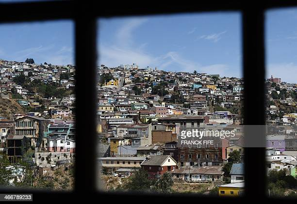 A picture taken on January 22 shows the city of Valparaiso Chile Located 120 kms west of Santiago the city of Valparaiso listed as World Heritage was...