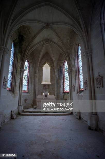A picture taken on January 23 2018 shows the chapel of the ruined castle of La MotheChandeniers in Les TroisMoutiers central western France...