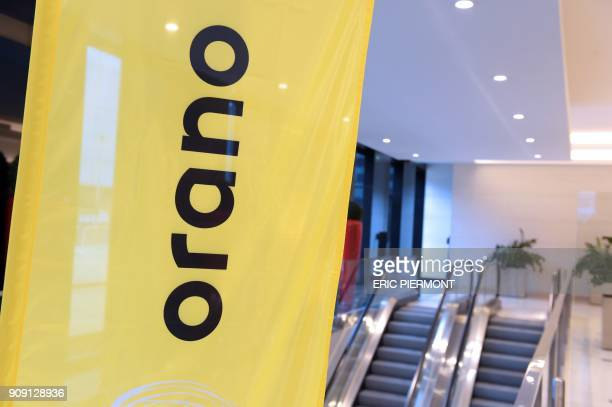 A picture taken on January 23 2018 shows the logo of Orano the new brand name of Areva in front of the headquarters in La Defense business district /...