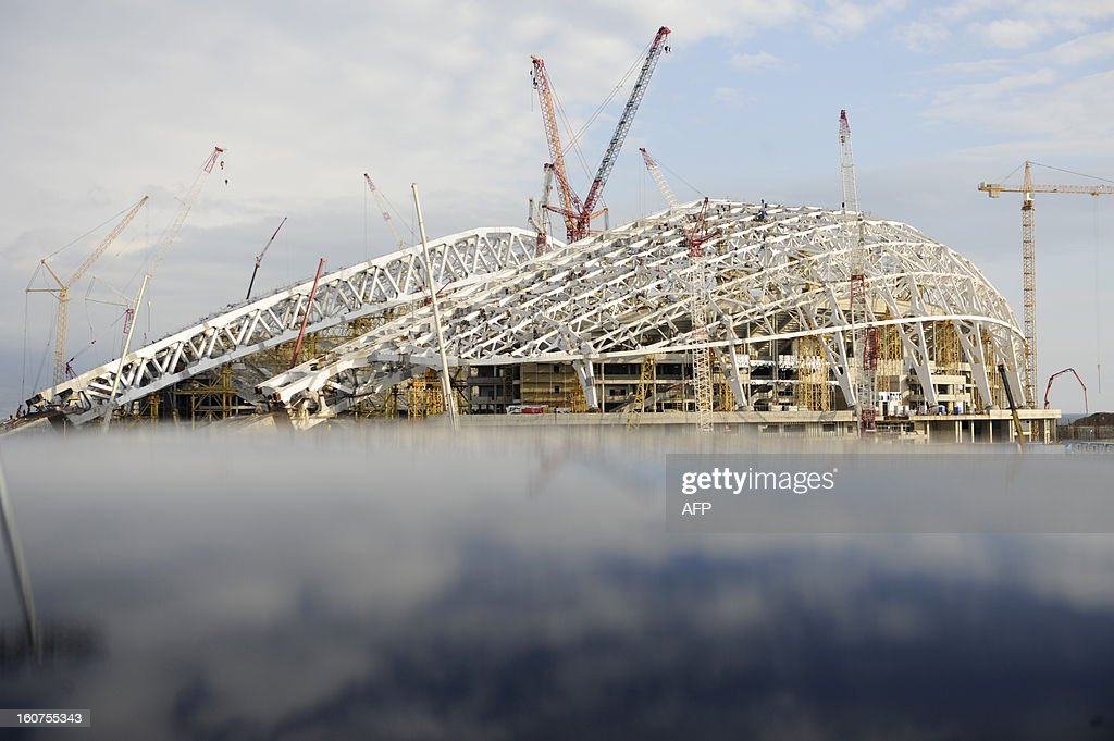 A picture taken on January 23, 2013, shows a view of the construction site of 'Fisht' Olympic Stadium in the Imereti Valley in the Russian Black Sea resort of Sochi. One year before Russia kicks off the 22nd Winter Olympic Games on February 7, 2014, its host city Sochi is one of the world's biggest construction sites, with works proceeding on schedule but declared a disaster by environmentalists.