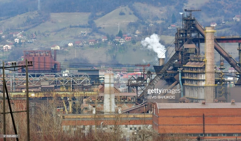 A picture taken on January 24, 2018, in Zenica, shows Zenica Ironworks (Zeljezara Zenica) industry, wich has been partially privatised. After Bosnia's war in the 1990s, business gradually went down...