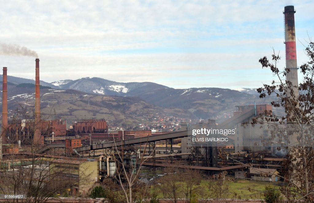A picture taken on January 24, 2018, in Zenica, shows Zenica Ironworks (Zeljezara Zenica) industry, wich has been partially privatised. After Bosnia's war in the 1990s, business gradually went downhill like at many state-run firms hit by both the transition to a market economy for which they were not equipped, and mismanagement. According to trade unions, between 50,000 and 65,000 former or current employees of mostly state companies, such as hospitals, mines or public transport, will not get their pension, as the companies had not been paying into the state pension fund. Tax authorities estimate that unpaid social contributions amount to almost two billion euros, or half of Bosnia's annual national budget. /