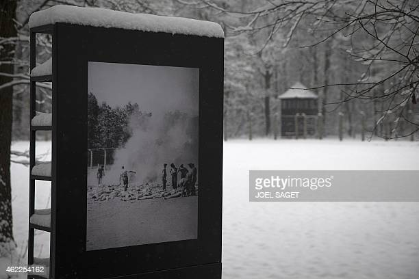 Picture taken on January 25, 2015 at the memorial site of the former Nazi concentration camp Auschwitz-Birkenau in Oswiecim, Poland, shows one of the...
