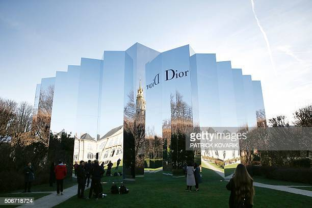 A picture taken on January 25 2016 shows the venue of the Christian Dior show during the 2016 spring/summer Haute Couture collection fashion...