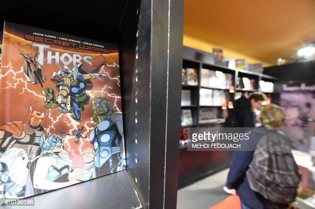 A picture taken on January 25 2018 in Angouleme southwestern France shows a comic displayed during the 45th edition of the Angouleme International...