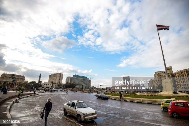 A picture taken on January 25 2018 shows a general view of the Egyptian capital Cairo's Tahrir square on the seventh anniversary of the 2011 uprising...