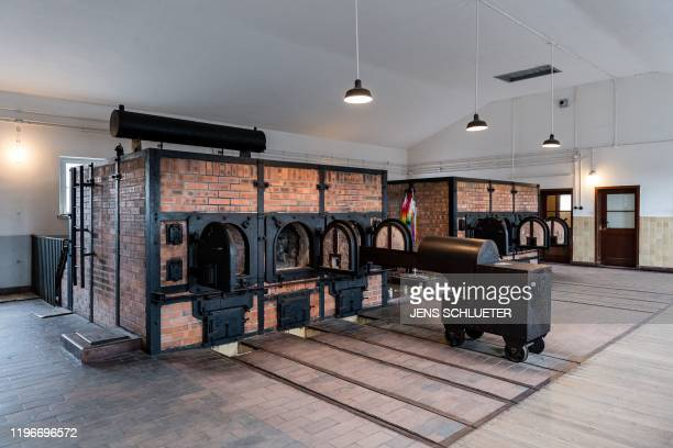 A picture taken on January 27 2020 shows a view of crematorium ovens at the memorial site of the former Nazi concentration camp Buchenwald near...