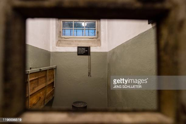 A picture taken on January 27 2020 shows an inside view of a cell at the memorial site of the former Nazi concentration camp Buchenwald near Weimar...