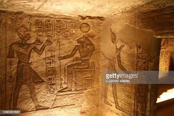 A picture taken on January 27 shows hieroglyphs at the Great Temple of Abu Simbel south of Aswan in upper Egypt