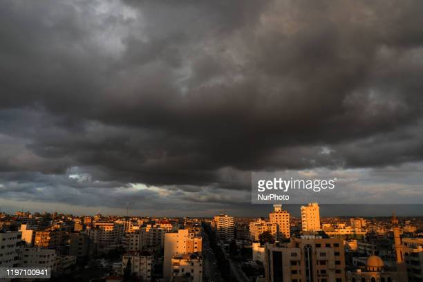 Picture taken on January 28 shows dark clouds over of gaza city