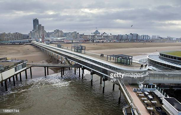 A picture taken on January 3 2013 shows the Pier of Scheveningen The Scheveningen Pier has been declared bankrupt after its owners hotel and catering...