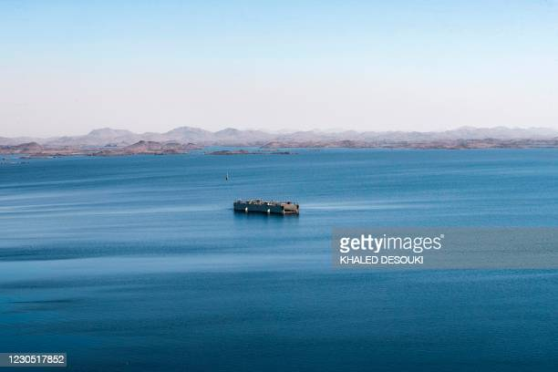 Picture taken on January 3, 2021 shows a general view of the Lake Nasser reservoir behind the High Dam in Aswan some 920km south of Egypt's capital....