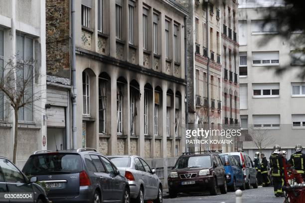 Picture taken on January 30, 2017 shows the facade of the papier d'Armenie factory in Montrouge after an explosion. Five people were injured,...