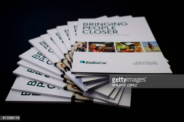 A picture taken on January 30 2018 shows leaftlets of BlaBlaCar at the company's headquarters in Paris The carpool platform BlaBlaCar will multiply...
