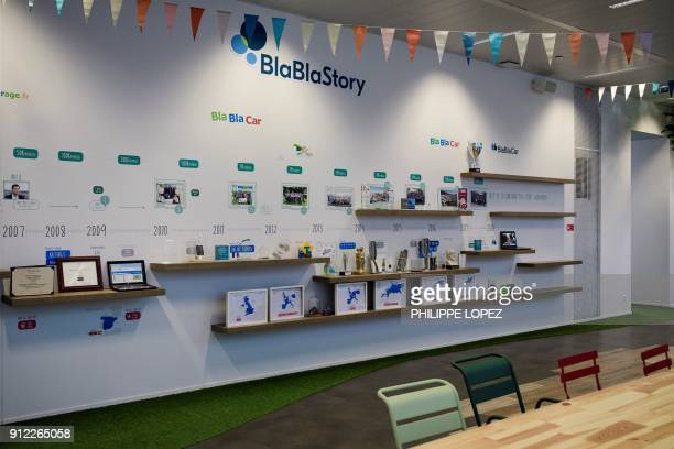A picture taken on January 30 2018 shows the lobby of BlaBlaCar headquarters in Paris The carpool platform BlaBlaCar will multiply the travel options...