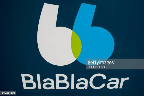 A picture taken on January 30 2018 shows the new BlaBlaCar logo at the company's headquarters in Paris The carpool platform BlaBlaCar will multiply...