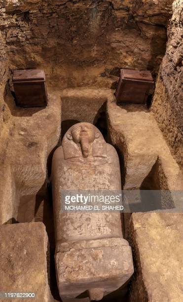 Picture taken on January 30 shows a sarcophagus among many archeological finds discovered in 3000-year-old communal tombs dedicated to high priests,...