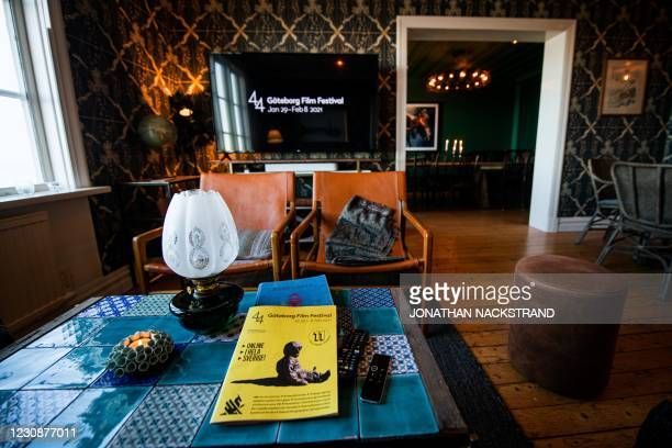 Picture taken on January 30 shows the main room in a hotel where Lisa Enroth, an emergency nurse and film fan from Skovde, will watch most of this...