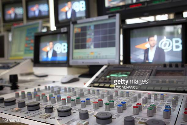 A picture taken on January 31 2011 in Paris shows a mixing console at the I Tele news channel office AFP PHOTO LOIC VENANCE